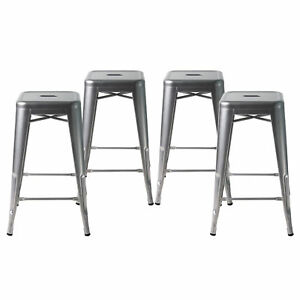 Details About Set Of 4 Metal Bar Stools 24 Indoor Outdoor And Stackable Grey