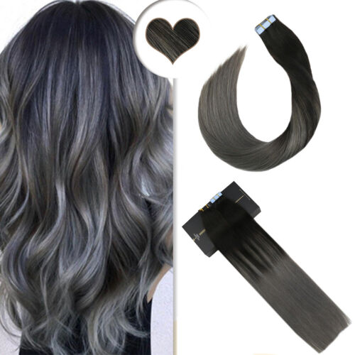 Ugeat 100gr Remy Quality Tape in Extensions Human Hair Balayage Black to Silver