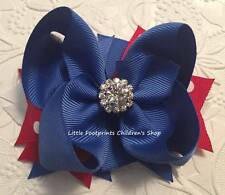 """Red White Blue Patriotic 4th of July Jeweled Layered Hair Bow 4"""""""