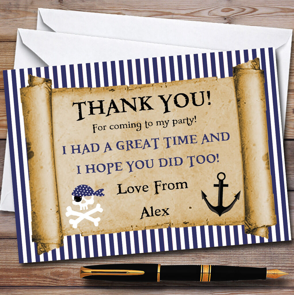 Blau Stripes Pirate Scroll Party Thank You Cards