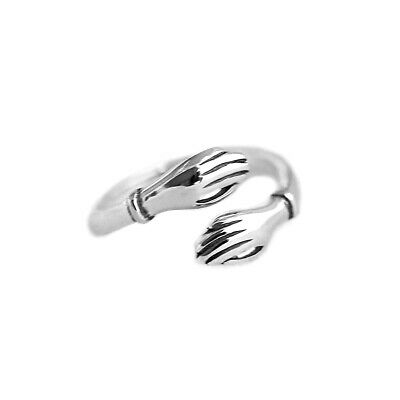 2Pcs Silver Hugging Hand Open Ring Creative Love Friendship Ring Jewelry UK