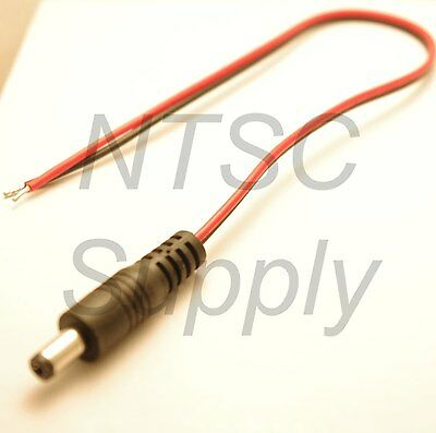 1FT 18AWG DC Power Cable Male Plug Connector Pigtail CCTV Alarm 5.5mm 2.1mm LED