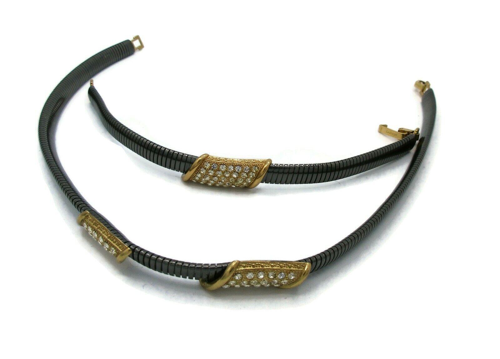 Vintage LANVIN Gun Metal Rhinestone Necklace Earr… - image 4
