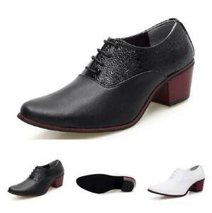 Mens-Dress-Formal-Leather-Shoes-Wedding-Business-Lace-up-Cuban-Heel-Pointy-Toe