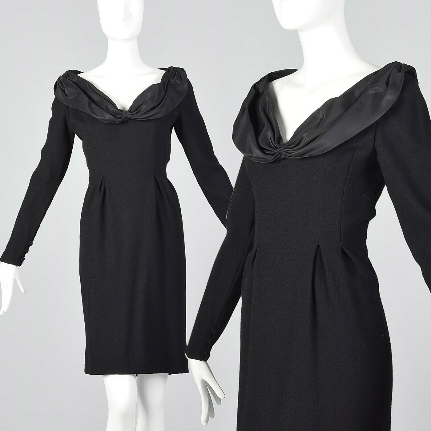 M 1980s Bill Blass Long Sleeve Pencil Dress Winter Simple Vintage Wool 80s VTG