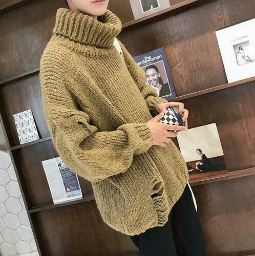 Korean Homme Ample Col roulé Laine Tricot Pulls Hiver Tricot Pull Taille
