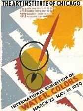 ADVERT INTERNATIONAL EXHIBITION WATER COLORS ART INSTITUTE CHICAGO PRINT LV932