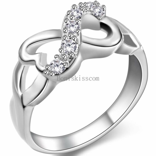 Silver Tone Heart Shape Infinity Knot Love CZ Ladies Engagement Ring Size 6-10