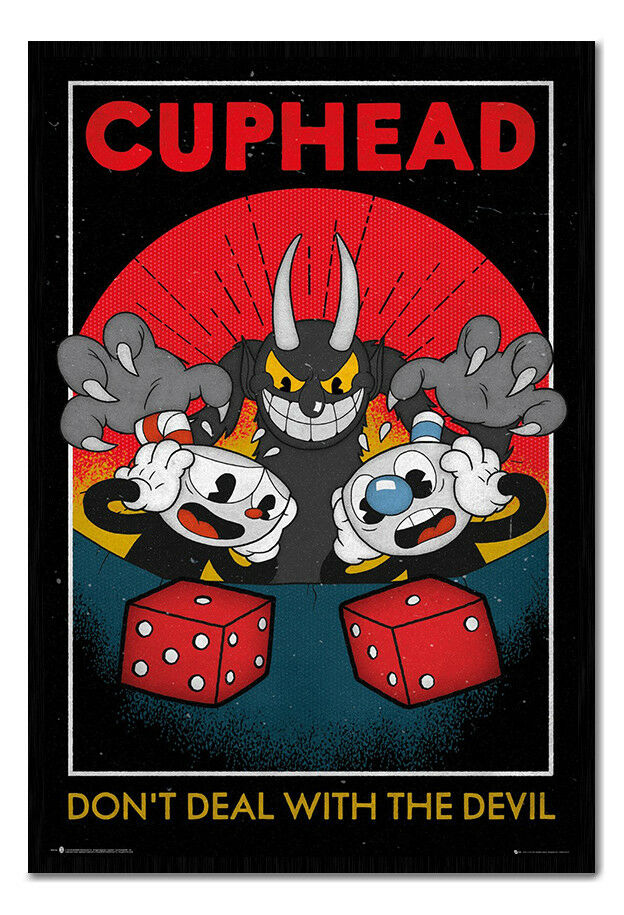 Cuphead Craps Dont Deal With The Devil Framed Cork Pin Board