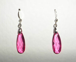 Image Is Loading Slim Faceted Hot Pink Acrylic Crystal Teardrop Silver