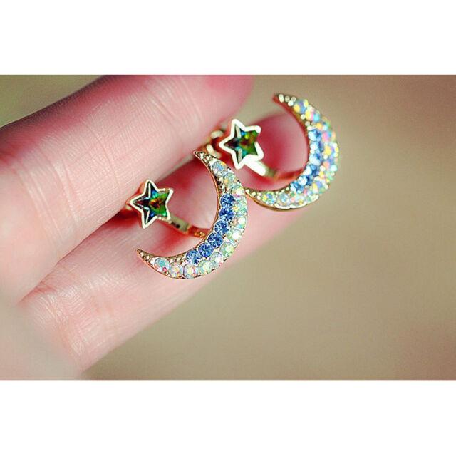 Scolours Fashions Women Moon Star Shape Crystal Stud Ear Earring Stud