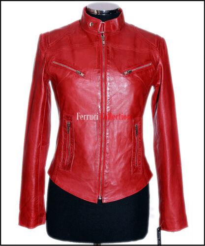 Style Donna Cerato Real Morbido Sienna Da Effetto Biker Retro Rosso 6zAXqwE