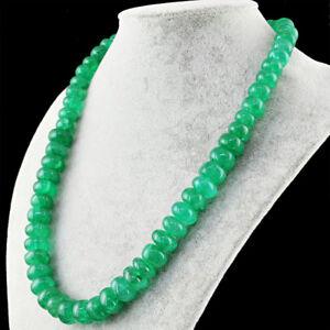 Verde-Esmeralda-670-00-CTS-tierra-minada-forma-redonda-granos-unica-Cadena-Collar