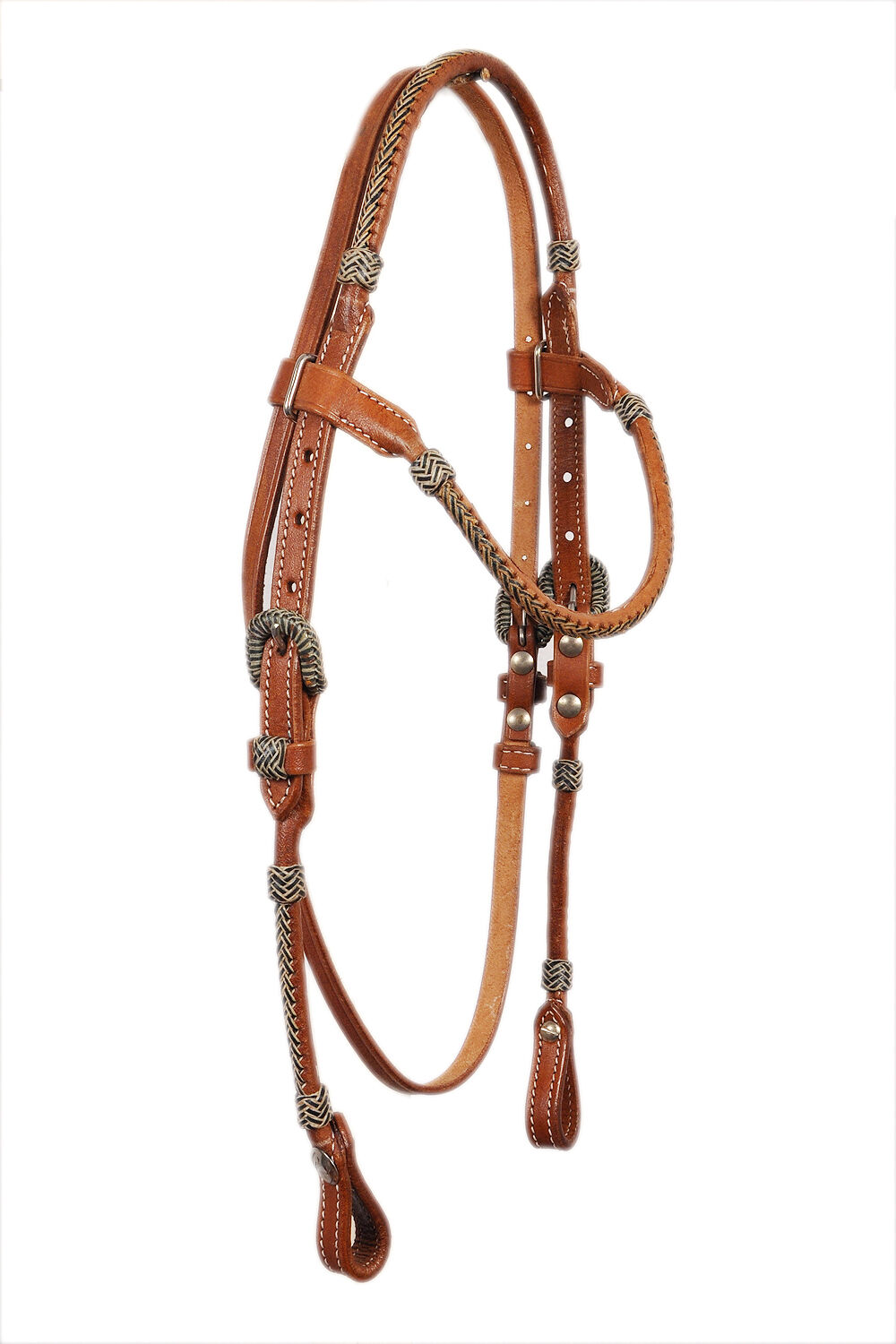 Western Natural Leather Set of  Rawhide Braided Headstall Breast Collar  10 days return