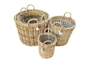 Grey-Kubu-Rattan-Strong-Round-Storage-Kindling-Log-Basket-4-Sizes-Laundry-Toys