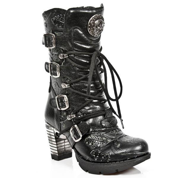 tempo libero NEW Rock stivali stivali stivali donna Punk Gothic Stivali-style tr003 s8 NERO-DONNA  alta qualità e spedizione veloce