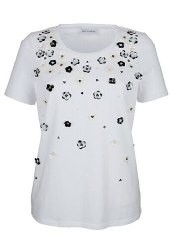 NUOVO!!! 48 TG Amy Vermont Maglietta con perle e fiori ornamentali bianco