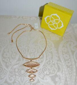 NWT-150-Kendra-Scott-Gold-Dust-034-Morris-034-Rose-Goldtone-Necklace-Adjustable