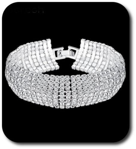 Luxus Armband Manchette Strass Armreif Armkette Kette Kristall Silber//Klar 18 mm