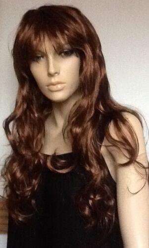 La femmina UK DISP Extra Lunghi Marrone Ondulato Costume Parrucca