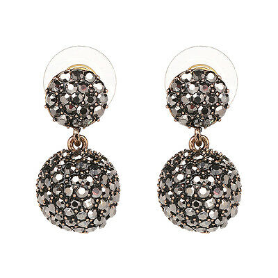 Black Round Rhinestone Gold Plated Lady Pearl Link Ball Drop Earrings Jewelry