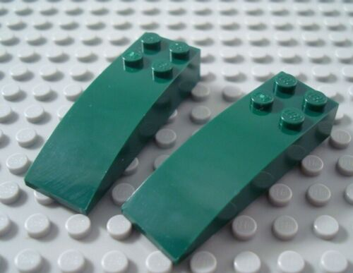LEGO Lot of 2 Dark Green 6x2 Curved Slopes