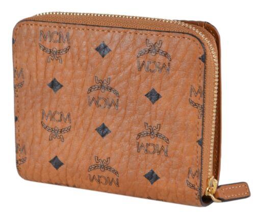New MCM Cognac Coated Canvas Diamond Visetos Small Zip Around Wallet
