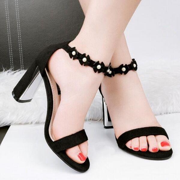 Frauensandalen elegant Absatz Quadrat 8.5 cm schwarz komfortabel elegant CW706