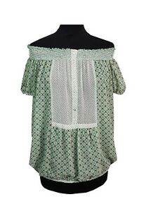 b3e6368840 ZARA Top Size M Green Floral Stretch Sheer Off Shoulder Evening ...