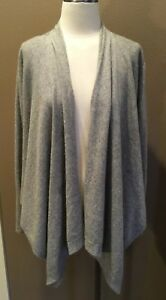 Willi-Smith-100-Cashmere-Sz-Xl-Gray-Cardigan-Sweater-Open-Front-amp-Long-Sleeves