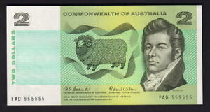 Australia-R-81-1966-Coombs-Wilson-2-Dollars-SOLID-Serials-555555-aU-UNC