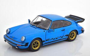 Porsche-911-Carrera-Azul-modelo-de-escala-1-18-Diecast-Clasico-de-detalle-fantastico-en-Caja