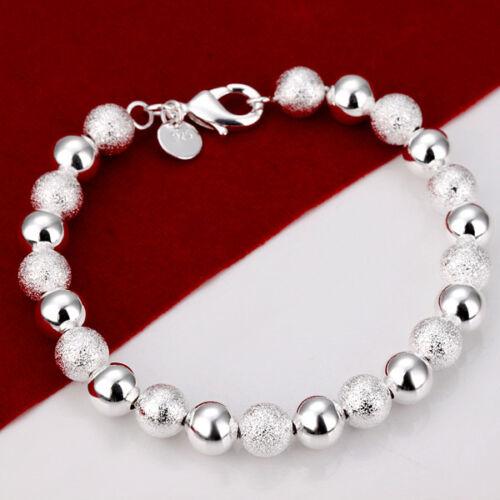"""Argent 925 Sandy lisse Bouddha Perles Chaînes Bracelet 8 mm 8/"""" H084"""