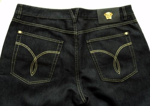 Rrp799gbp dritti denim Sz36 gamba Novità iconico Pantaloni Jeans in Versace blu PqwX8X
