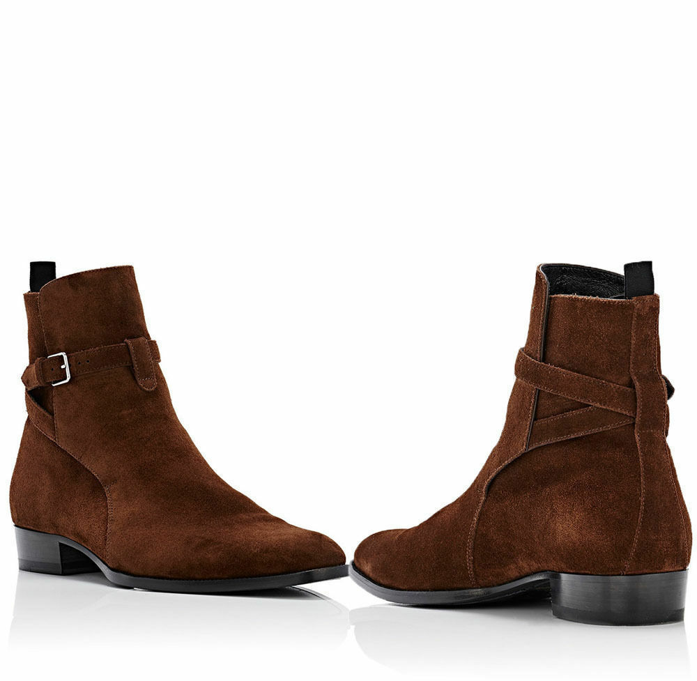 Zapatos de Cuero Gamuza Cuero Hecho a Mano Jodhpur botas al Tobillo Hombres Chelsea Tobillo Alto