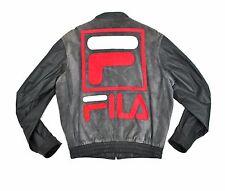 Fila Suede Leather Varsity Jacket Med Grey Sewn Bomber Bjorn Borg 90's vtg RARE