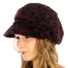 Knit Leopard Print Cabbie/Newsboy Hat Women's Fall/Winter Accent Corsage Wine