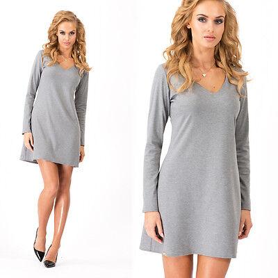 Stylish Ladies Shift Dress With Zipper V Neck Long Sleeve Tunic Sizes 8-14 FA360
