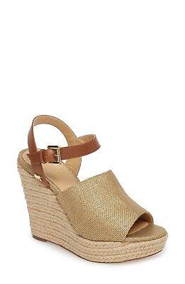 New Michael Kors Penelope Espadrille Wedge Sandals GoldLuggage Size 7.5 | eBay