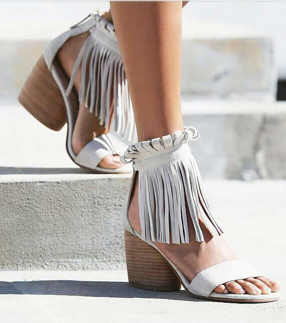 femmes Roman Style Retro Tassel Vintage Ankle bottes Sandals Chhunky heel chaussures