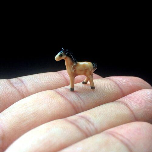 New Tiny Horse Ceramic Figurine Dollhouse Miniature Hand Paint Gift Cute Zodiac