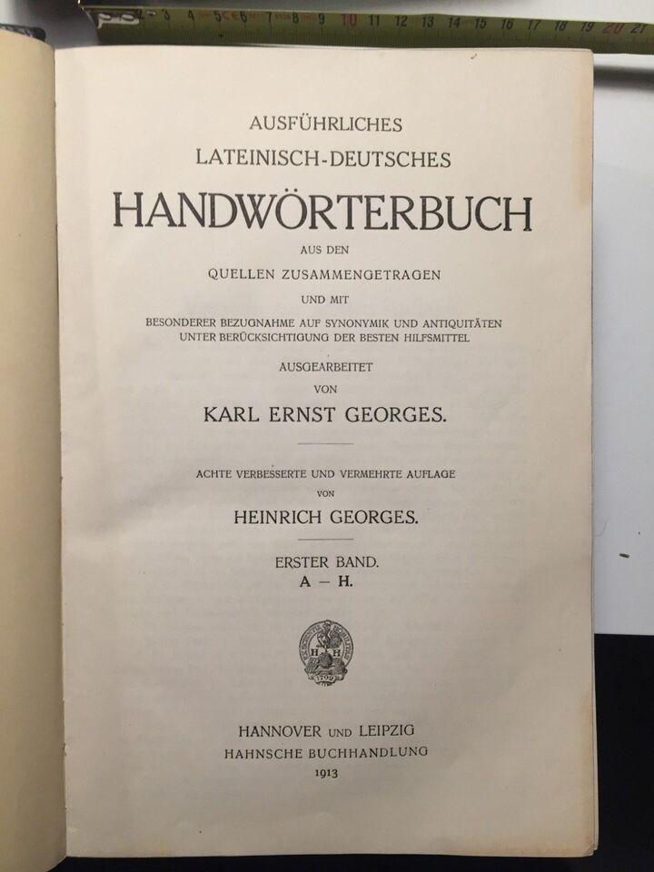 Latin-Tysk håndordbog i 2 bd., Georges m.fl., emne: sprog