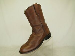 Justin-Brown-Leather-Cowboy-Western-Roper-Boots-Youth-Size-2-5-D