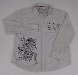 Rewire-Men-039-s-Asian-Dragon-Asian-Letters-Long-Sleeve-Button-Down-Shirt-XL