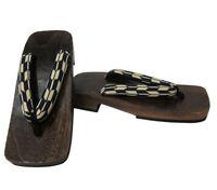 Japanese 10.25l Men's Samurai Yukata Kimono Yaban Stripes Wooden Geta Sandals