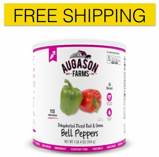 New Augason Farms Dehydrated Red and Green Bell Peppers 1 Can, Free Shipping