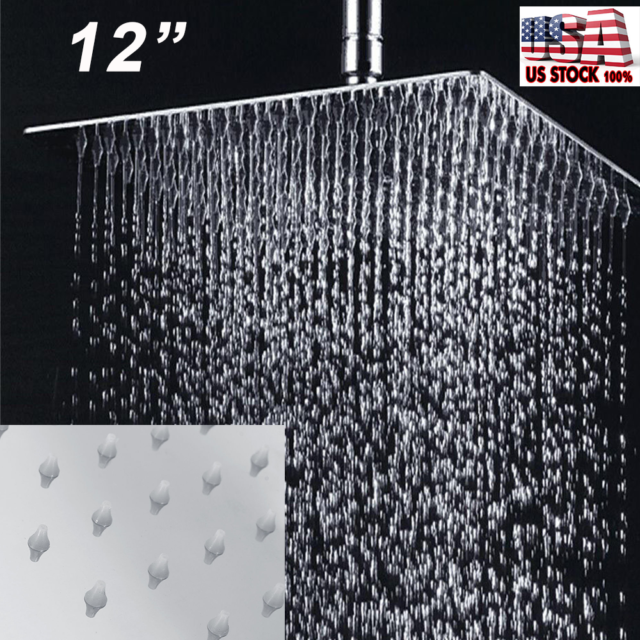 Rainfall Bathroom Top Sprayer Stainless Steel 12 Square Rain Shower Head New