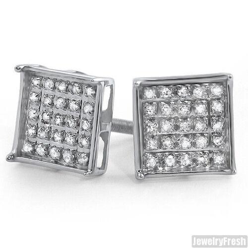 8 mm argent véritable diamant 0.15 ct boîte de boucles d/'oreilles pour hommes