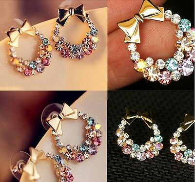 New Colorful Rhinestones Crystal Bowtie Bow Ear Stud Earrings Lady Gift Summer