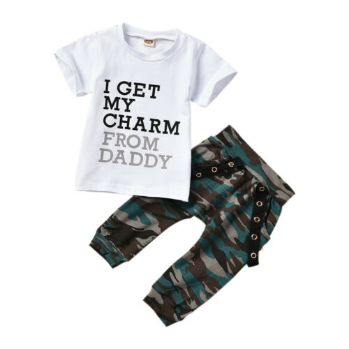 UK Toddler Kids Baby Boys T-Shirt Tops Camo Pants Summer Clothes Outfits Sets